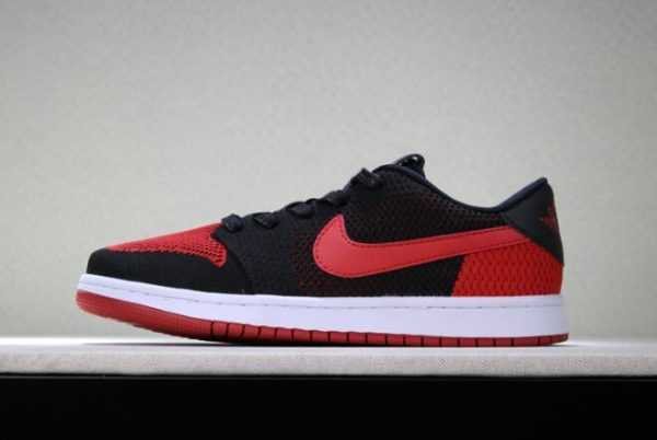 "New Air Jordan 1 Low Flyknit ""Banned"" Black/Varsity Red-White Men' s Size"