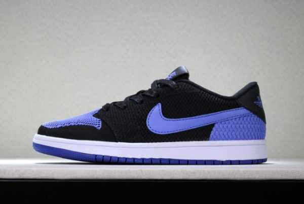 "New Air Jordan 1 Low Flyknit ""Royal"" Black/Game Royal-White Men' s Basketball Shoes"