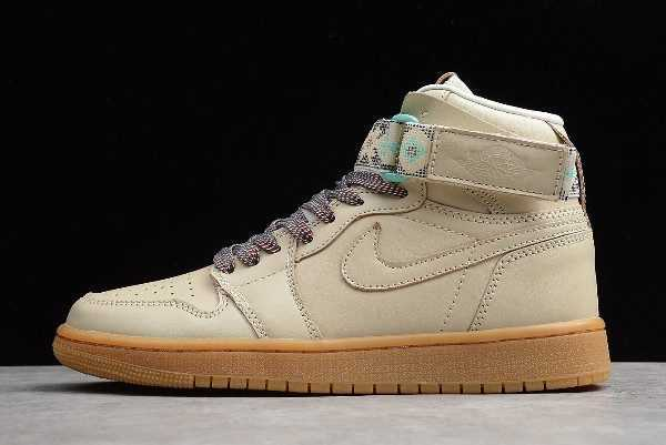 Men' s Air Jordan 1 Retro High Top Strap ' 7' Light Cream