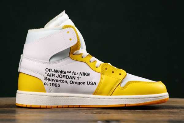 Air Jordan 1 x Off-White NRG White/Dark Powder Yellow-Cone Sale