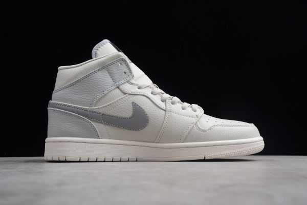 2018 Air Jordan 1 Mid SE Light Bone/Grey Fog-Reflect Silver Sneaker