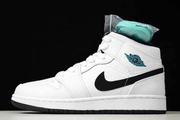 Air Jordan 1 Retro Mid BG White/Black-White-Hyper Jade 554725-122