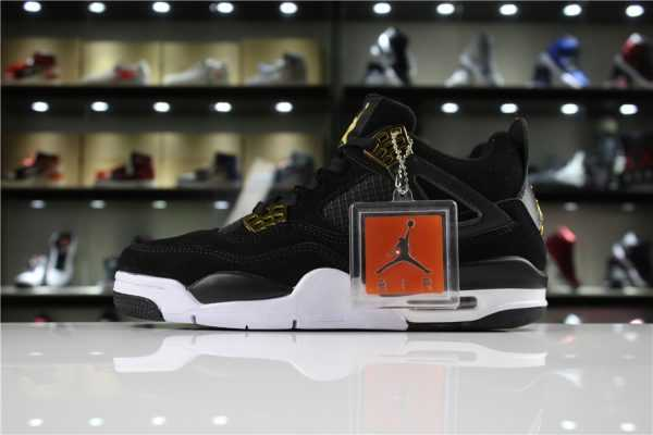 "Mens and Womens Air Jordan 4 Retro ""Royalty"" Black/Metallic Gold-White 308497-032"