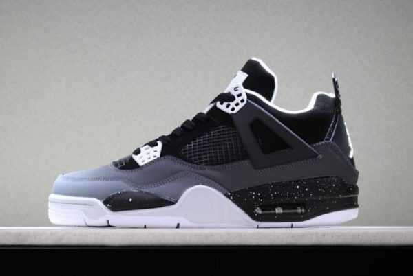 Air Jordan 4 Retro ' ear' Stealth/Black-White Shoes For Men and Women