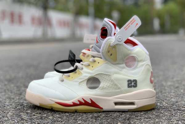 CT8480-002 OFF-WHITE x Air Jordan 5 White/Fire Red 2020 For Sale