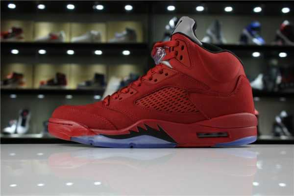 "Mens Air Jordan 5 ""Red Suede"" University Red/Black 136027-602"