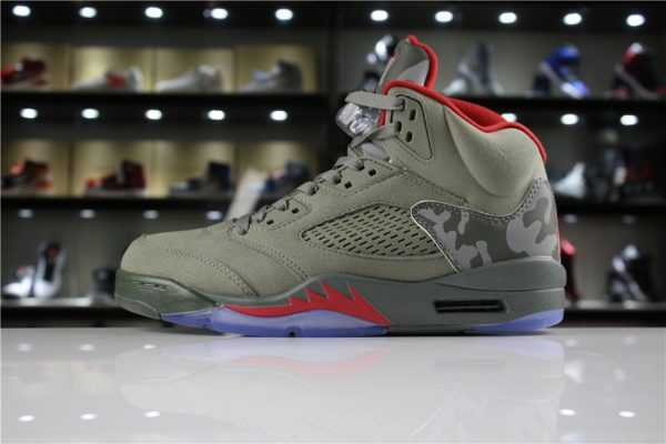 "Mens and Womens Air Jordan 5 ""Camo"" Dark Stucco/University Red 136027-051"